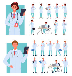 male female doctors poses set young woman man in vector image