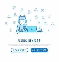 man using devices concept vector image
