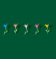 multicolored colorful lilies set of elements for vector image