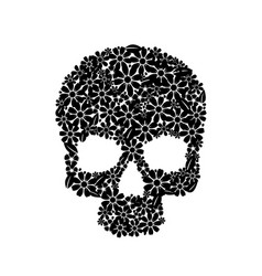 painting skull flowers isolated on black black vector image