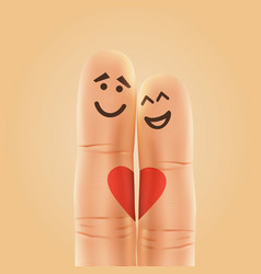 Pair of happy fingers smiley in love vector
