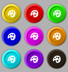 Palette icon sign symbol on nine round colourful vector image