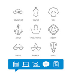 Paper boat shell and swimsuit icons vector