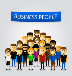 people at work with teamwork banner vector image
