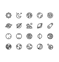 planet line icons solar system cosmos planets vector image