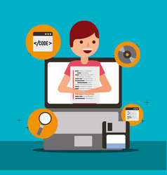 Program coding website vector