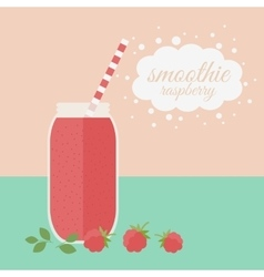 Raspberry smoothie in jar on a table vector image