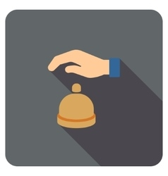 Reception Call Bell Flat Rounded Square Icon with vector image