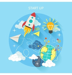 Research start up rocket vector image vector image