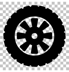 Road tire sign Flat style black icon on vector