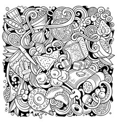 Russian food hand drawn doodles vector
