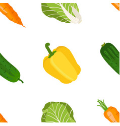 Seamless pattern of ripe vegetables from the vector