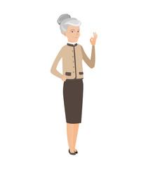 senior caucasian business woman showing ok sign vector image