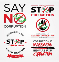 Set lettering stop corruption day vector