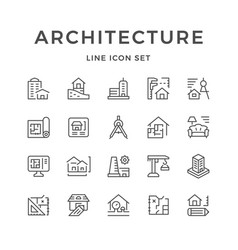 Set line icons of architecture vector