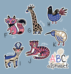 Set of cute patch badges with animals alphabet f vector