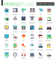 Set of flat home appliances icons vector