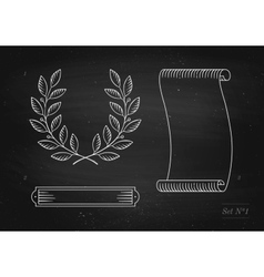 Set of old vintage ribbon banner laurel wreath in vector image