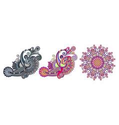 set of original hand draw line art ornate flower vector image
