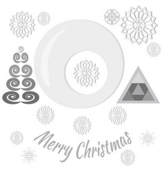 set with pattern with textsnowflakestrees vector image