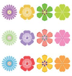 Seth colorful flowers vector