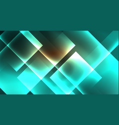 Shiny neon design square shape abstract background vector