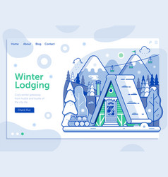 Ski resort landing page with winter cabin vector