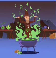 Sorcerer casting a spell vector