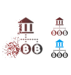 sparkle pixel halftone bitcoin bank structure icon vector image