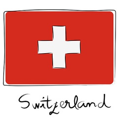 Switzerland flag doodle vector image
