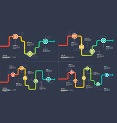Three-six steps timeline or milestone infographic vector