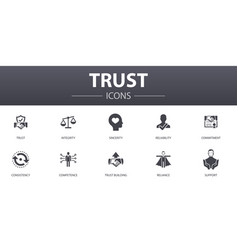 Trust simple concept icons set contains vector