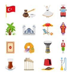 Turkey Flat Colored Icons Set vector image
