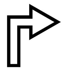 Turn Right Outline Icon vector