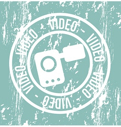 Video camera grunge seal over green background vector