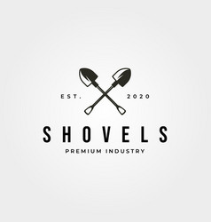 Vintage shovel cross logo symbol design vector