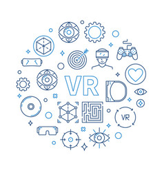 vr - virtual reality round in vector image