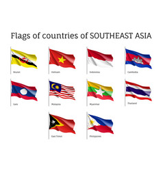 waving flags of aec members vector image