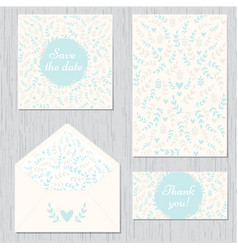 Wedding set of cards and envelope vector