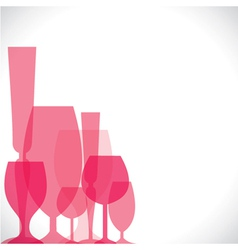 Wine glass pink background vector