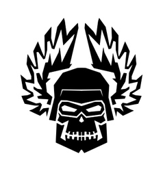 Winged black skull mask in helmet wings of fire vector image