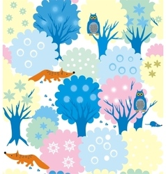 Winter forest-garden vector
