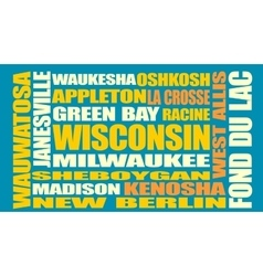 Wisconsin state cities list vector