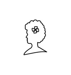 woman head silhouette with flower outline icon vector image