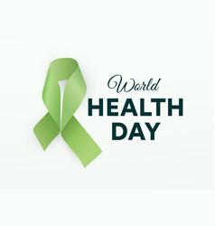 World health day icon green ribbon health vector