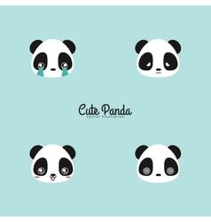 Cute panda faces vector image vector image
