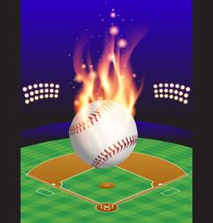 fire baseball field vector image vector image