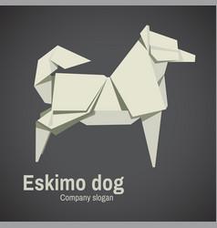 husky dog origami vector image