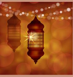 illuminated arabic lamp lantern with string of vector image vector image
