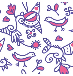 Seamless ethnic pattern with birds and objects vector image